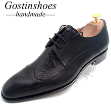 GOSTINSHOES HANDMADE Goodyear Welted Men's Dress Shoes Black Cow Leather Ostrich Skin Lace-up Pointed Toe GSTN011
