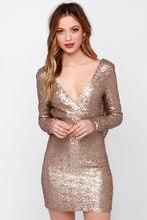 Funkeln Gold Volle Hülse V-ausschnitt Mmermaid Mini Open Back Drapierte Pailletten Cocktailkleid