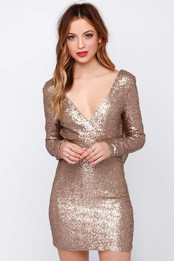Popular Gold Sequin Cocktail Dresses-Buy Cheap Gold Sequin ...