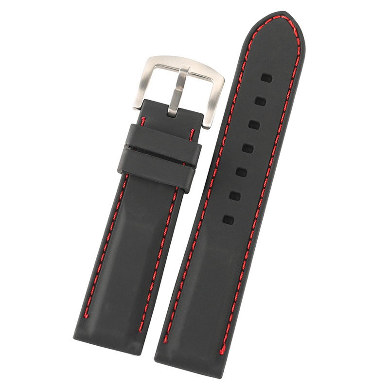 22mm 24mm High Quality Stitching Silicone Band for Men Watches Replacement Soft Rubber Strap Wristband Bracelet +2 Spring Bars jansin 22mm watchband for garmin fenix 5 easy fit silicone replacement band sports silicone wristband for forerunner 935 gps