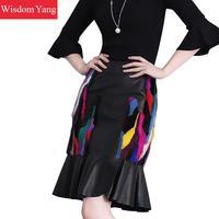 Черный реального норки из натуральной кожи юбка высокая талия Миди юбки Для женщин Bodycon 2018 Повседневное вечерние стильная женская обувь рус