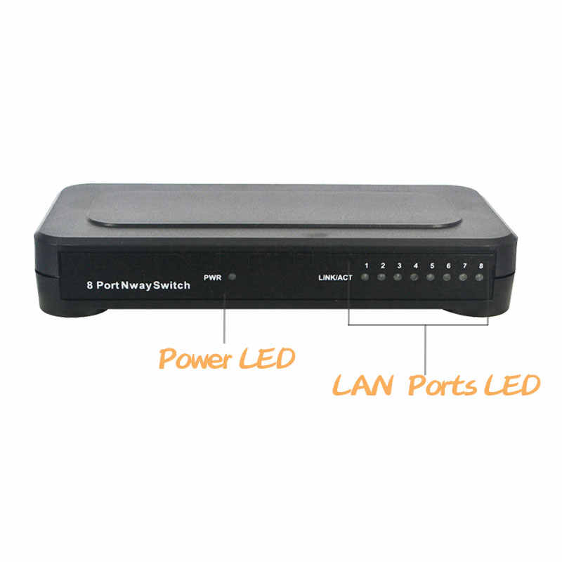 8 puertos 10/100 Mbps red rápida Ethernet Switch Hub soporte ordenador PC tableta empresa Cámara LED pantalla compartir los datos