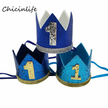 Chicinlife 1Pcs First Birthday Crown Headband Boy Girl 1st Birthday Party Hair Accessory Baby Shower Prince Princess Hat Supplie