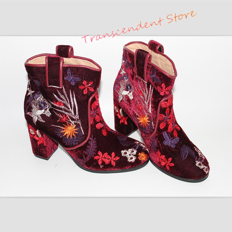 High Heels Suede Floral Women Boots Fashion Round Toe Slip On Ankle Boots Spring Autumn Embroider Genuine Leather Women Shoes