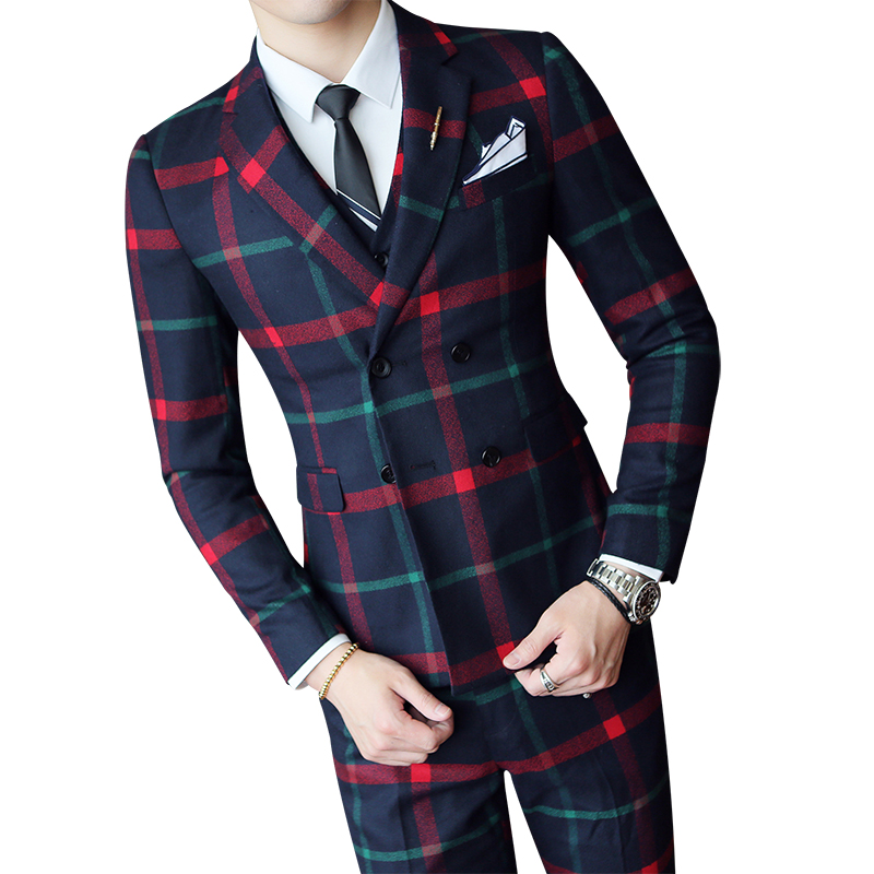 Jacket+pants+vest 2019 Fashion Check Suit Men's Casual Wedding Fashion Men Double-breasted Slim Blazer Men Banquet Prom Set 3pcs