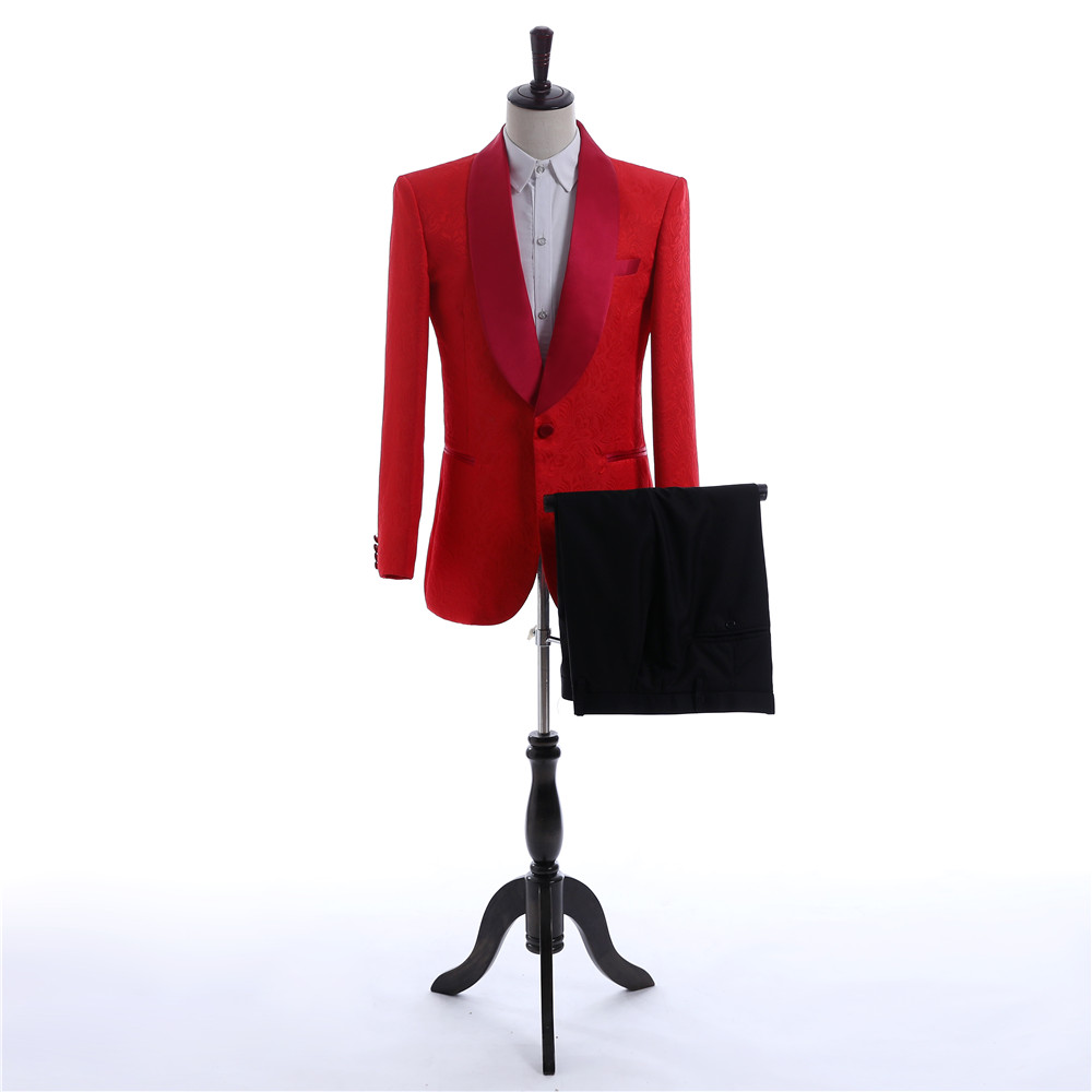 Fashion Lace Slim Fit Red Groom Wedding Tuxedos Custom Made Formal Men Business Suit High Quality Men Wedding Suits(Jacket+Pant)
