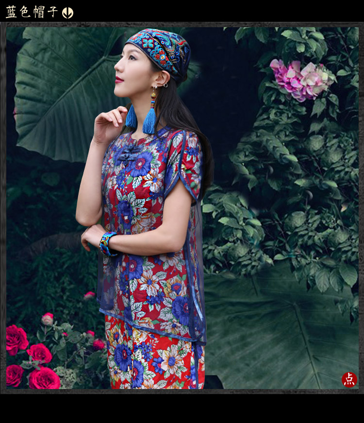 Mexican Style Spring And Autumn Ethnic Vintage Embroidery Flowers Bandanas Original Red Blue Print Hat Cat Free Shipping 22