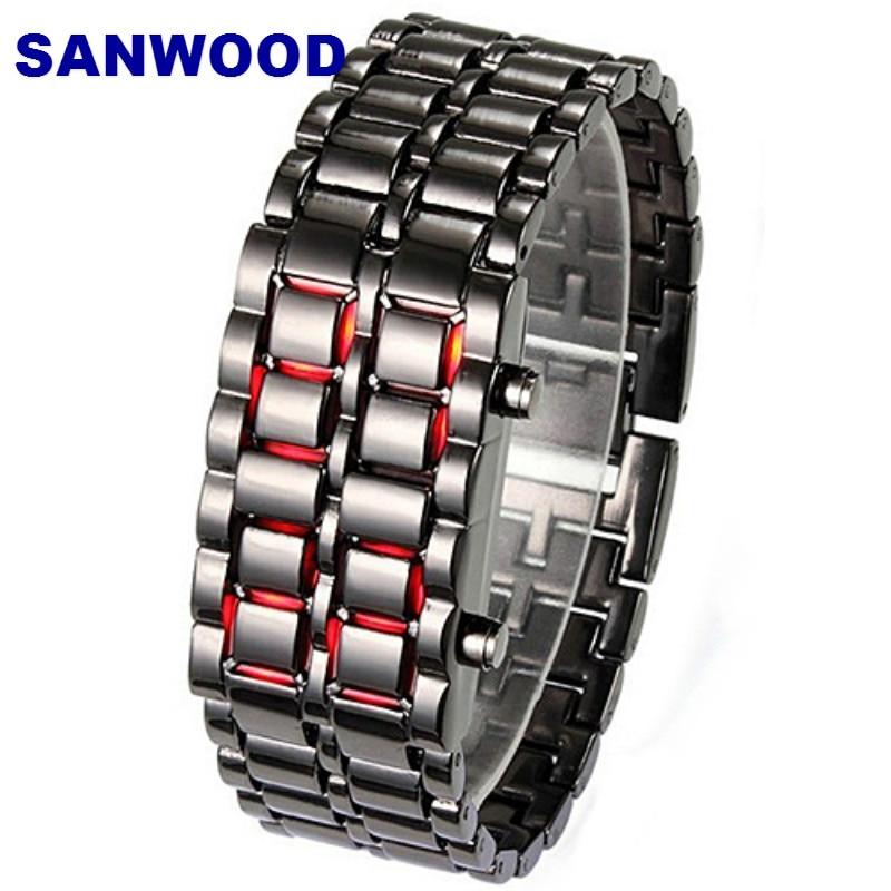 Digital Men Women Lava Iron Samurai Metal LED Faceless Bracelet Watch Wristwatch 0W47 smt 89