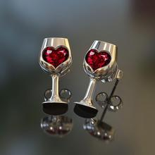 Cute Silver Goblet Stud Earrings with Red Zircon Stone for Women Fashion Jewelry Korean 2019