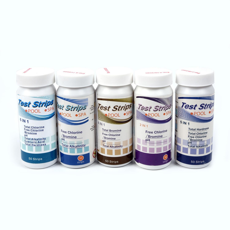 50 шт тест-полоски для бассейна спа хлор PH Щелочность жесткость воды