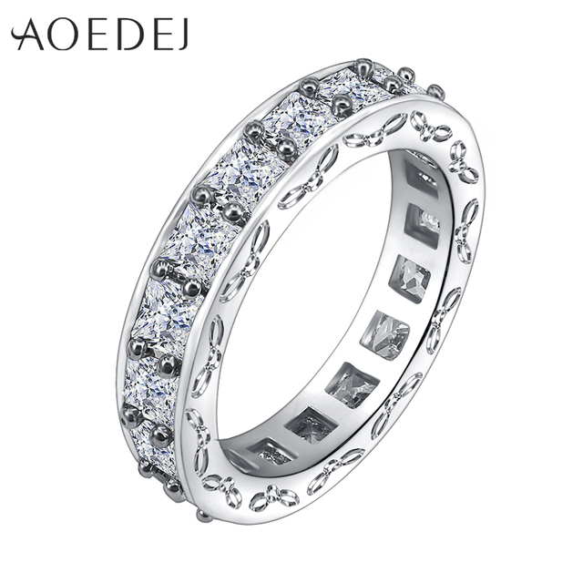 AOEDEJ 2018 Vintage Rhinestone Wedding Rings for Women Fashion Rose Gold &  Silver Color Finger Bands with Cubic Zirconia Jewelry