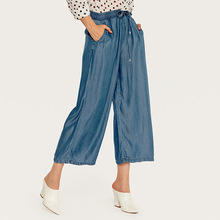 AcFirst Summer Tencel Women Fashion Blue Long Loose Pants Wide Leg Elastic High Waist Female Cowboy Jeans XL