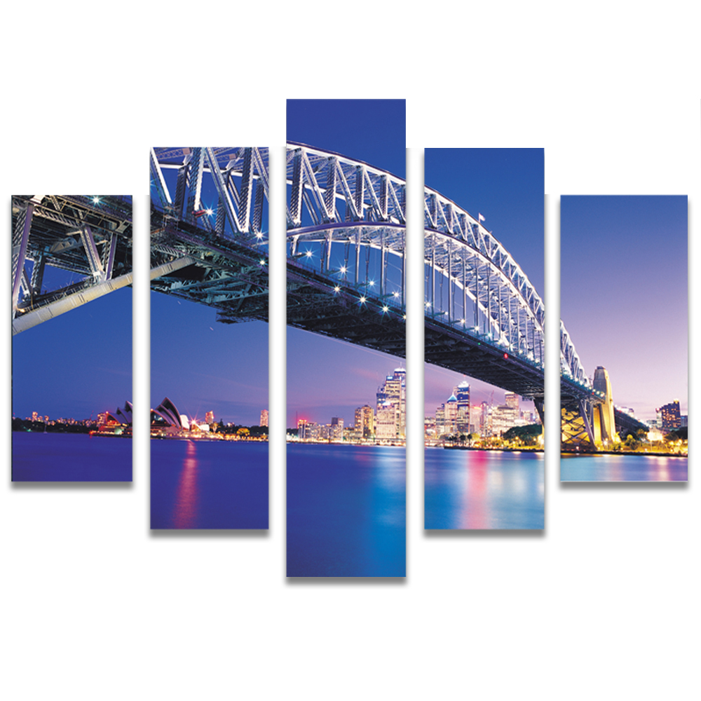 Unframed Canvas Painting Night View City Bridge Photo Picture Prints Wall Picture For Living Room Wall Art Decoration