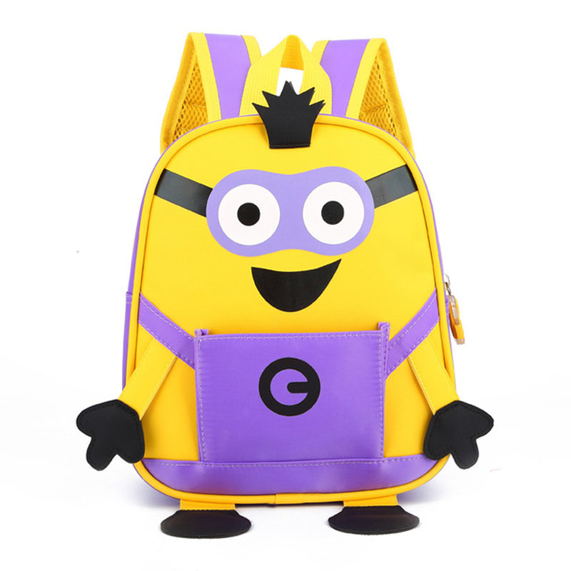 Cute Funny Yellow Guys Minions School Bag for toddler Kids Childrens Casual Mini Nylon Backpack Book Toy Pack Small Book Bags