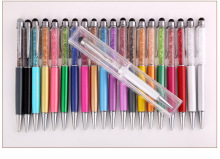 10pcs/lot hot sale crystal metal ballpoint pen .metal mobile touch