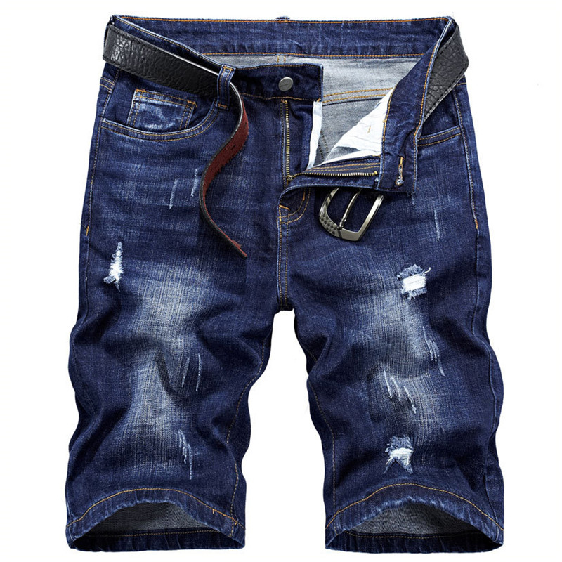 MORUANCLE Men New Ripped Short Jeans Casual Distressed Denim Shorts For Man Washed Blue Straight Bermuda Plus Size 28-40