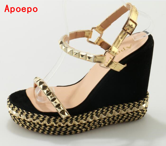 Newest 2017 Summer Rope Braided Platform Sandal Sexy Open toe Rivets Studded Ankle Strap Gladiator Sandal Woman Fashion Shoes  2017 newest summer black brown leather sandal for woman sexy open toe flat crystal sandal sequins bead t strap buckle shoes