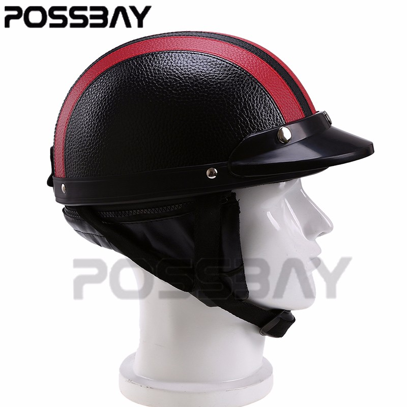 ed1ed8f1 POSSBAY Motorcycle Goggles Scooter Half Leather Open Face Helmet or Visor UV  Goggles Retro Vintage 54 60cm Cafe Racer Helmets-in Helmets from  Automobiles ...