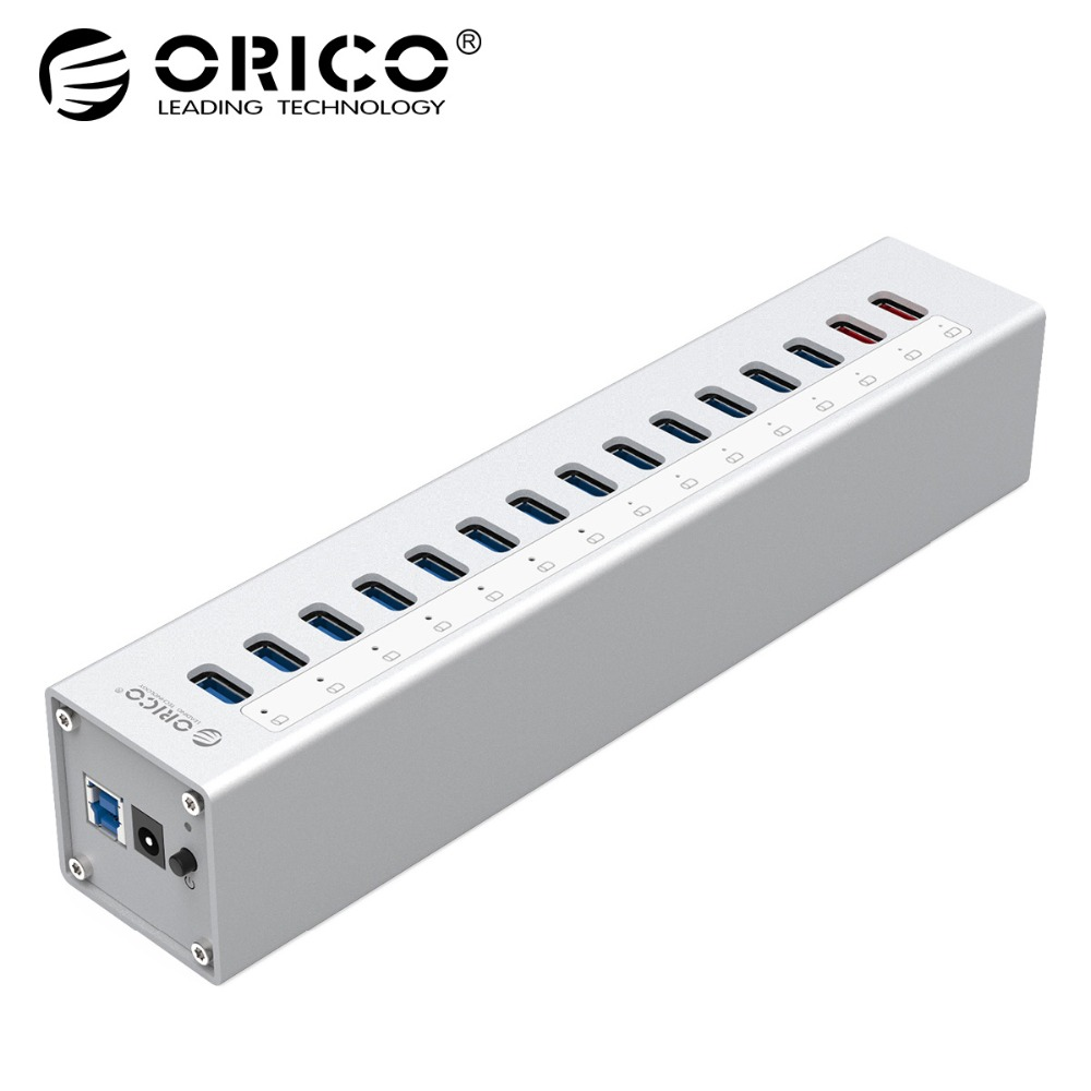 ORICO A3H13P2 Алюминий 13 Порты USB3.0 концентратор с 2 зарядки Порты 5V2. 4A супер Зарядное устройство/5V1A Универсальный-серебро