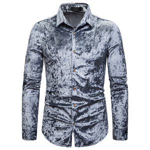Image 3 - Royal Blue Velvet Velour Shirt Mannen 2019 Herfst Nieuwe Slim Fit Lange Mouw Heren Dress Shirts Casual Button Down Chemise homme