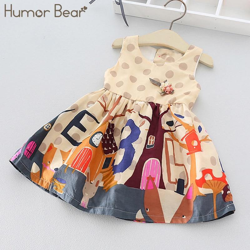 Humor Bear Child Girls Dress 2018 New Brand Baby Girls Above Knee Style Cartoon Print Dress Children Clothing Dress girls cartoon print dress