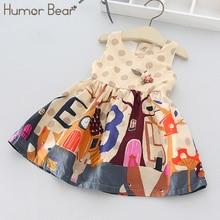 Humor Bear Child Girls Dress 2018 New Brand Baby Girls Above Knee Style Cartoon Print Dress Children Clothing Dress
