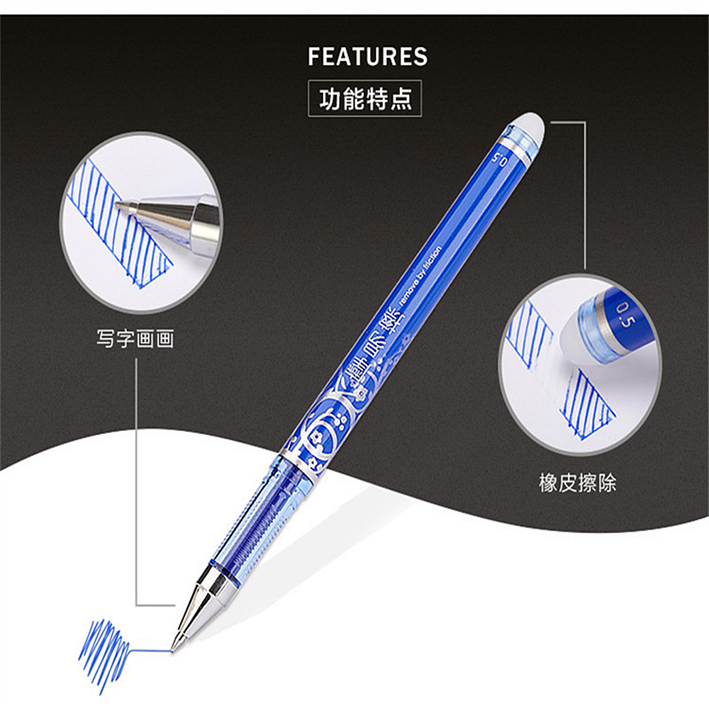 New 1pcs Erasable Gel Pens Blue Black Pen With Cartridge Sales Gifts Boutique Student Stationery Office Pen Writing 4