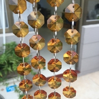 Hot Sales 14mm 20meters Amber Crystal Glass Beads Strand Garland Wedding Party Chandelier Trimming Curtain Lighting