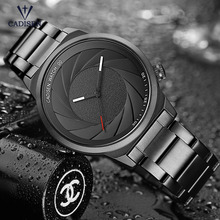 Cadisen Men's Stainless Steel Business Quartz Watches Fashion Simple Waterproof Analogue Wristwatch for Man Boys Black CS9056G-2