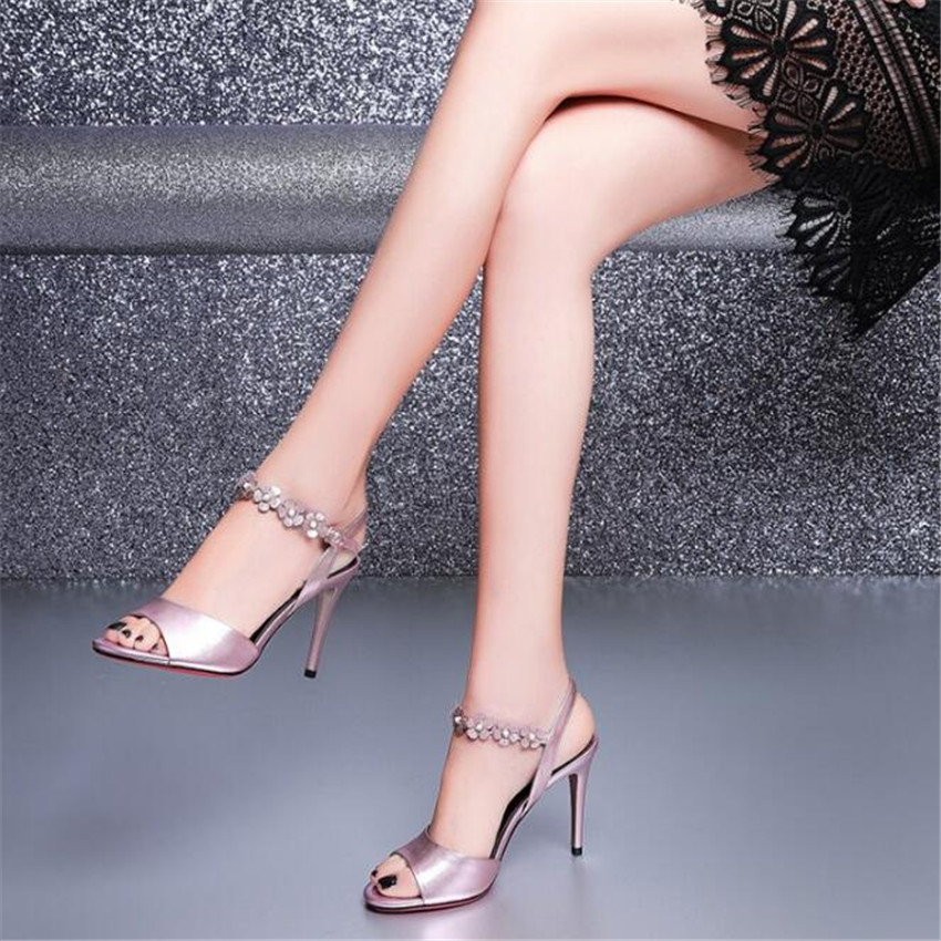 MLCRIYG 2018 popular women's summer Rome toes and high heels leather sandals