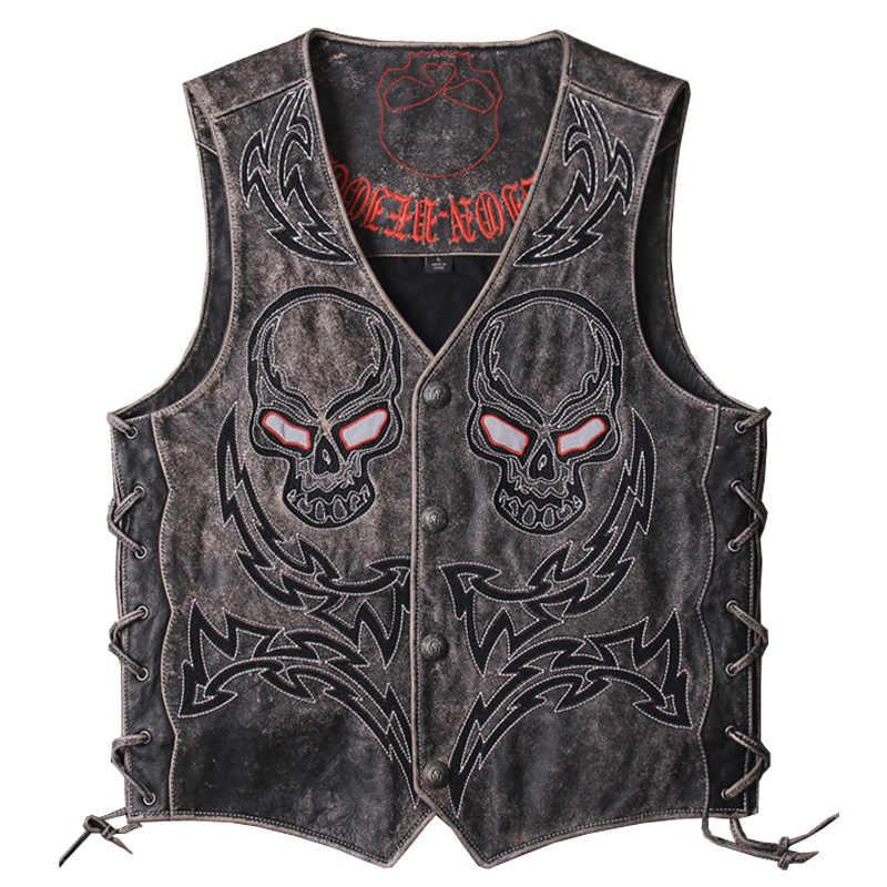 1092d427f HARLEY DAMSON Vintage Black Men Skulls Embroidery Genuine Biker's Leather  Vest Plus Size XXXL Slim Fit Short Cowhide Riding Vest