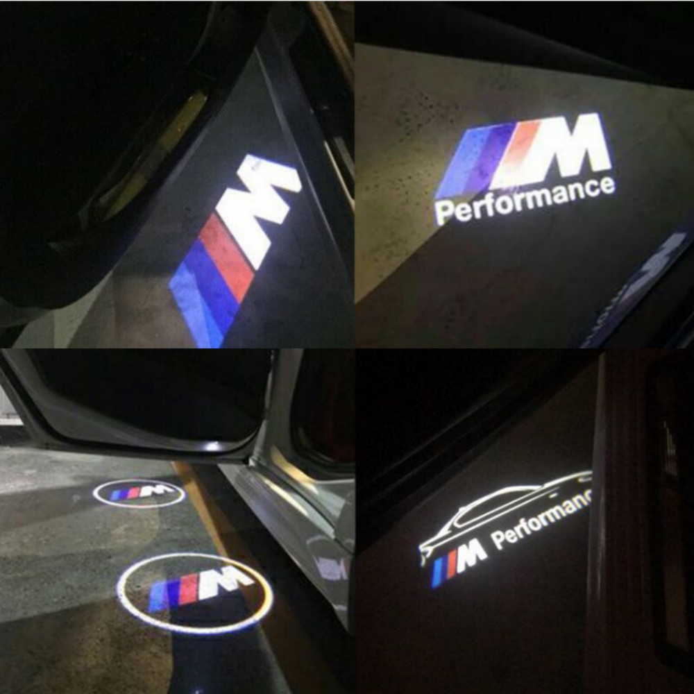 JURUS 2pcs For BMW light Car Door Welcome Logo emblem light 3 5 6 7 Series GT X5 X3 M3 M5 M Performance Logo