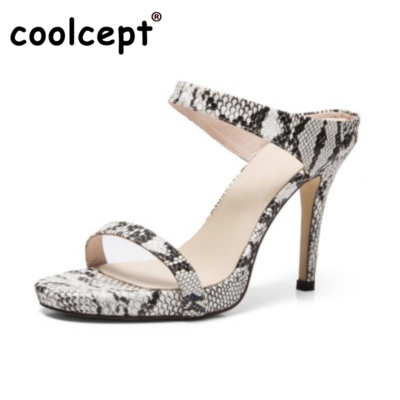 Coolcept Ladies Real Leather High Heeled Sandals Summer Shoes Women Solid Color Slipper Party Sexy Club Footwears Size 34-39 2016 summer high heels16cm sexy waterproof 4cm party women s shoes plus size factory outlet real picture