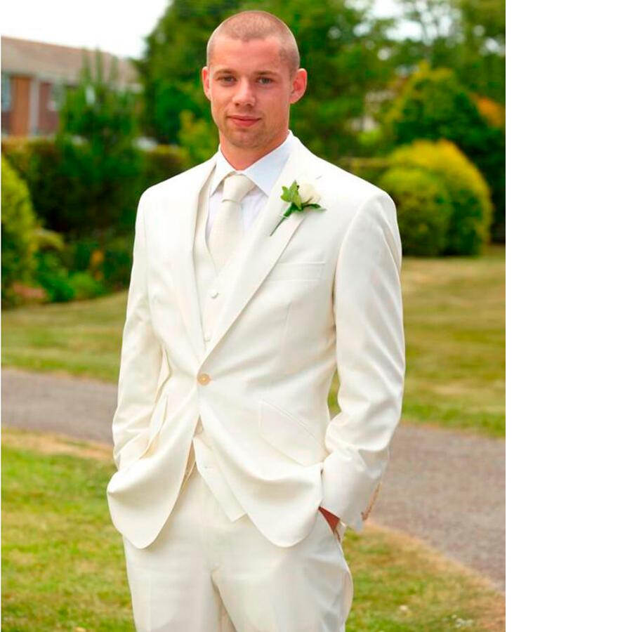 Online Shop Custom Made men suit Handmade Ivory Men Slim Fits ...