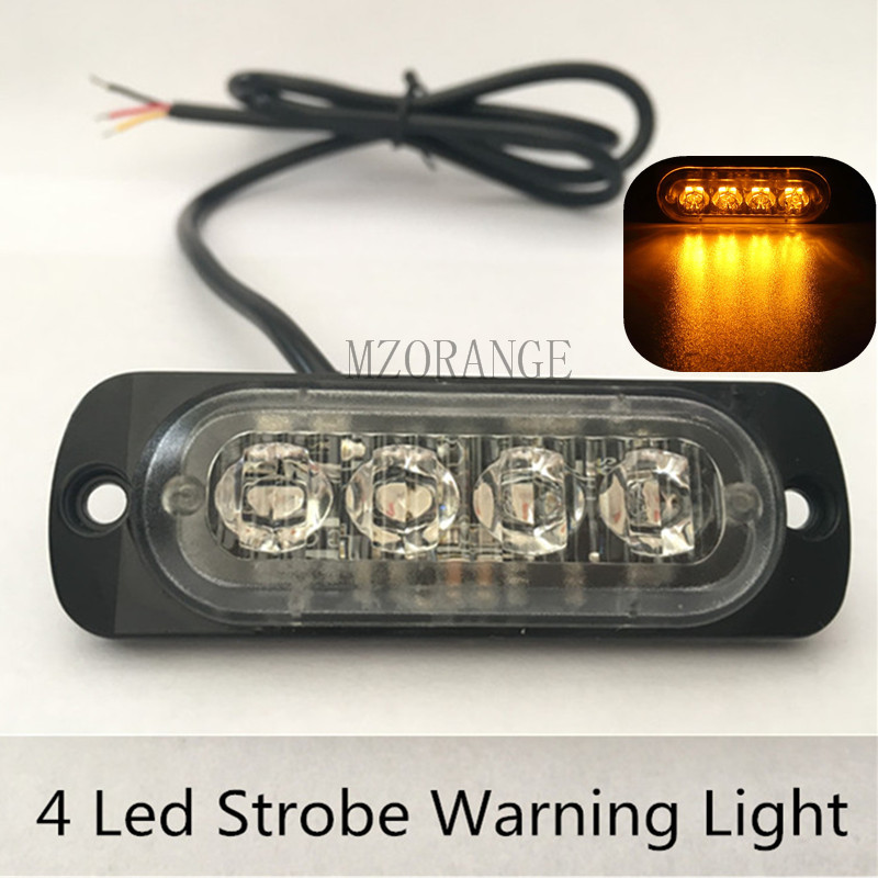 12v 24v 4 led strobe warning light strobe grille flashing lightbar. Black Bedroom Furniture Sets. Home Design Ideas