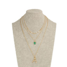 Bohemian Trendy Multi-layer Irregular Chain Metal Lock Chain Capital Letter Green Pendant Three-layer Necklace For Women Jewelry(China)