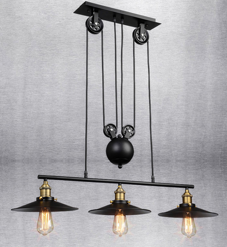 Vintage Iron Loft American Country Pulley Pendant Lights Adjule Wire Lamps Retractable Bar Lighting