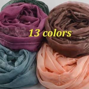 Шелковые шарфы длинные, новый шарф с цветочной вышивкой, мусульманский хиджаб, роскошные брендовые шелковые шали, арабские шали, галстук и к...