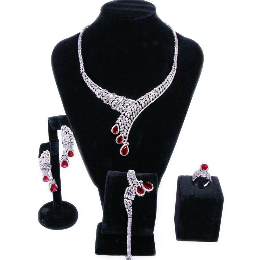 New Luxury women wedding Jewelry Sets red stone 4pcs jewelry sets ( necklace, bracelet, earrings & ring ) Free shipping viennois new blue crystal fashion rhinestone pendant earrings ring bracelet and long necklace sets for women jewelry sets