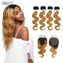 Ienvy Honey Blonde Ombre 4 Bundles With Closure Body Wave Peruvian 1B 27 Colored Bundles With Closure Human Hair Weaves Non Remy(China)