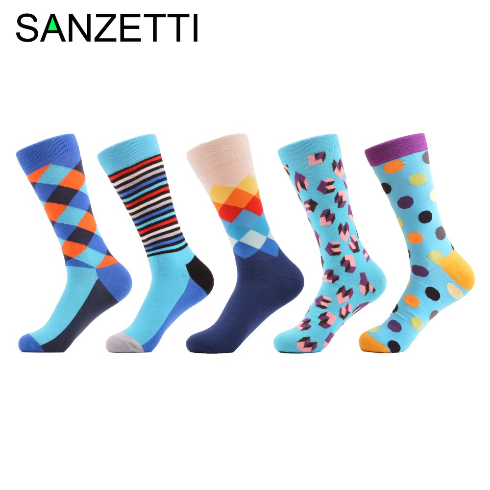 SANZETTI 5 Pair/lot Colorful Mens Novelty Party Socks Combed Cotton Casual Dress Crew Socks Funny Pattern Male Wedding Socks