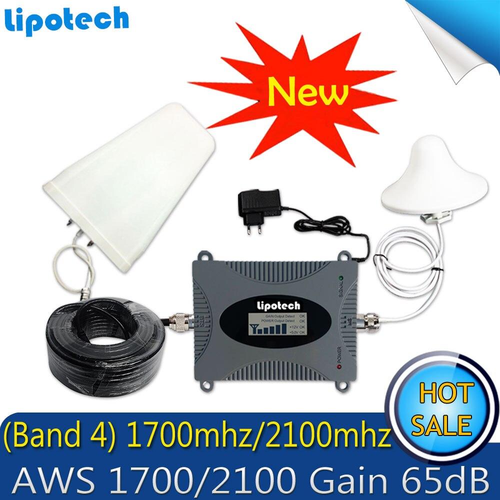 Lintratek 15 m câble Set (bande 4) 1700 2100 AWS répéteur de Signal de téléphone portable FDD 4G LTE Booster Gain 65dB 1700 Mhz amplificateur de Signal