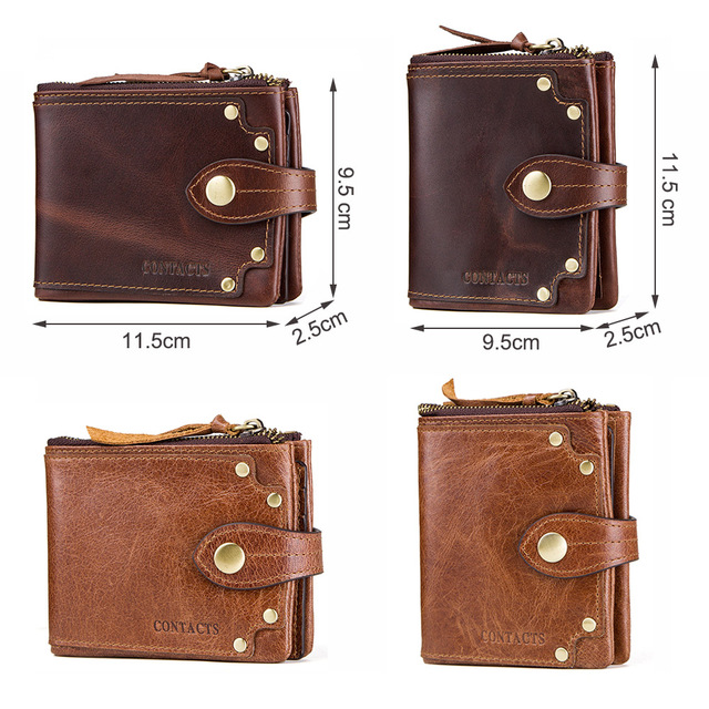 CONTACT'S crazy horse cowhide leather men wallets short men's purse card holder male carteira masculina zipper cartera hombre 4