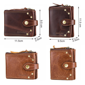 Image 5 - CONTACTS crazy horse cowhide leather men wallets short mens purse card holder male carteira masculina zipper cartera hombre