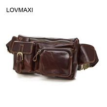 LOVMAXI Genuine Leather Waist Packs Men Bags Fanny Pack Phone Pouch Travel Male Small Bag