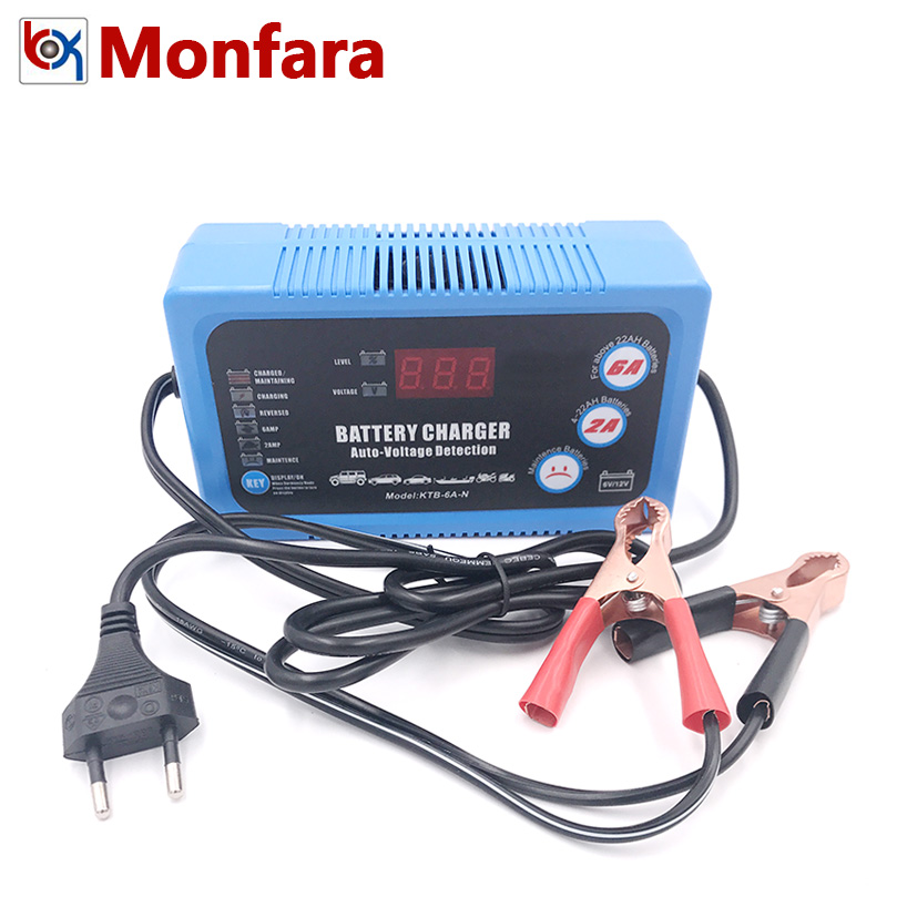 6V 12V ЖК-дисплей автоматическое устройство для Мотоциклетные батареи Зарядное устройство 2A 6A интеллигентая (ый) ремонт импульса зарядки для ...