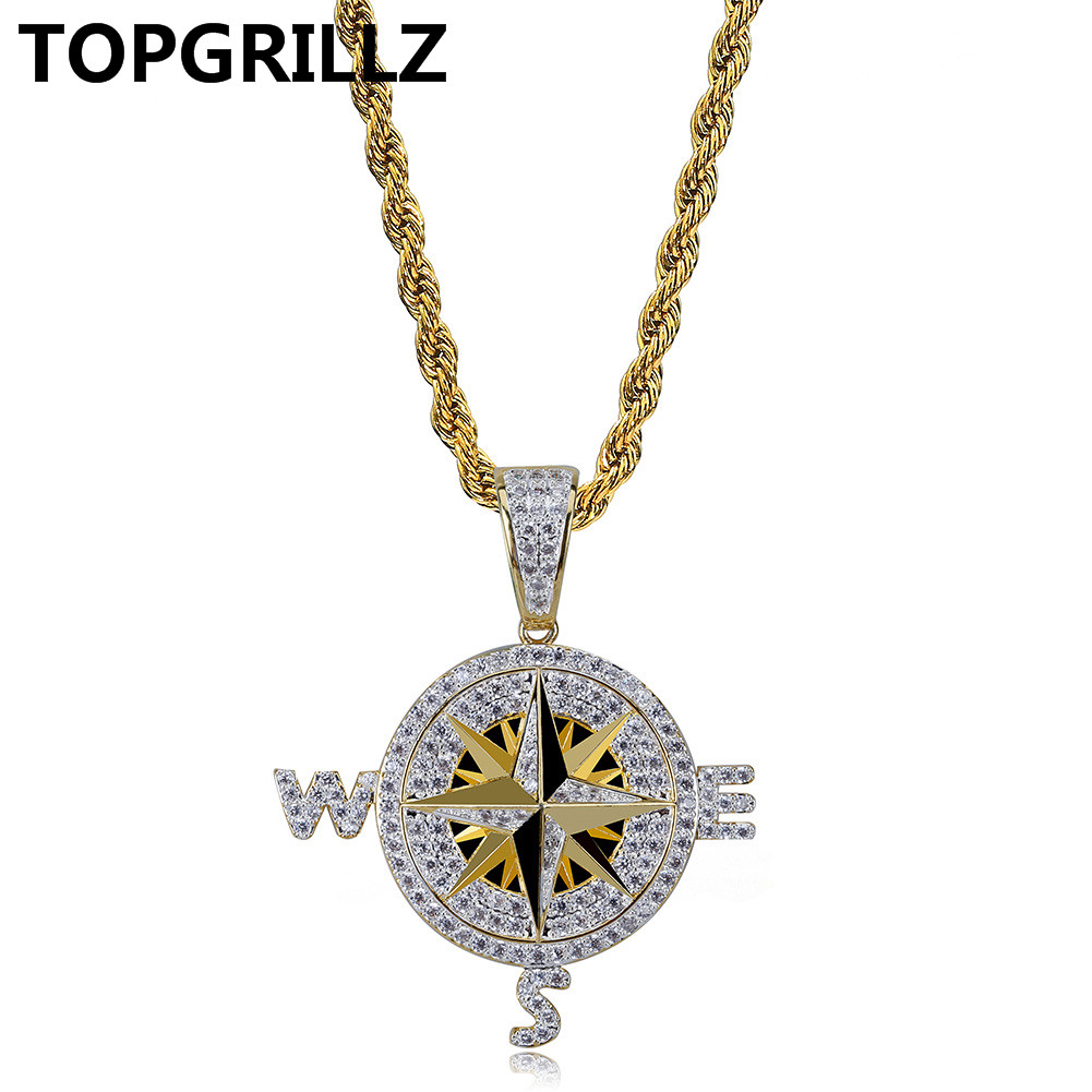 TOPGRILLZ Men's Iced Out Cubic Zircon Compass Necklace & Pendant With 4mm Tennis Chain Hip Hop Gold Silver Color Jewelry Gifts new hip hop fashion 69 saw clown necklace cubic zircon gold silver saw horror movie theme pendant necklace iced out micro pave