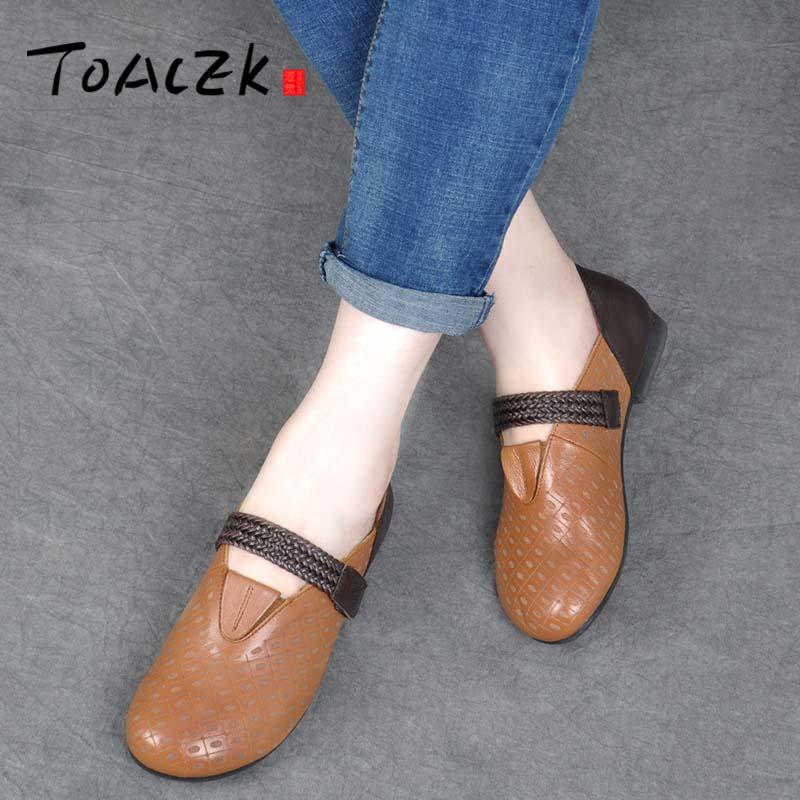 Cuir mère chaussures fermoir plat plat unique chaussures femmes semelle souple style ethnique grande taille chaussures