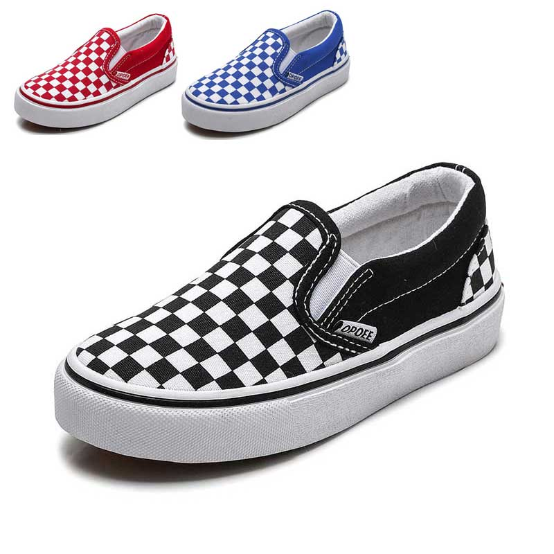 Kids Shoes For Girls Children Canvas Shoes Boys Sneakers Spring Autumn 2019 White Short Plaid Fashion Children Skate Shoe #65(China)