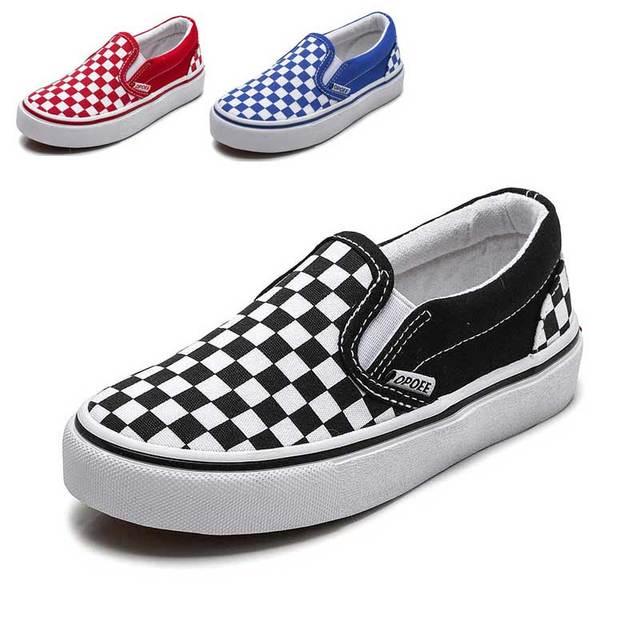 Kids Shoes For Girls Children Canvas Shoes Boys Sneakers Spring Autumn 2019 White Short Plaid Fashion Children Skate Shoe #65